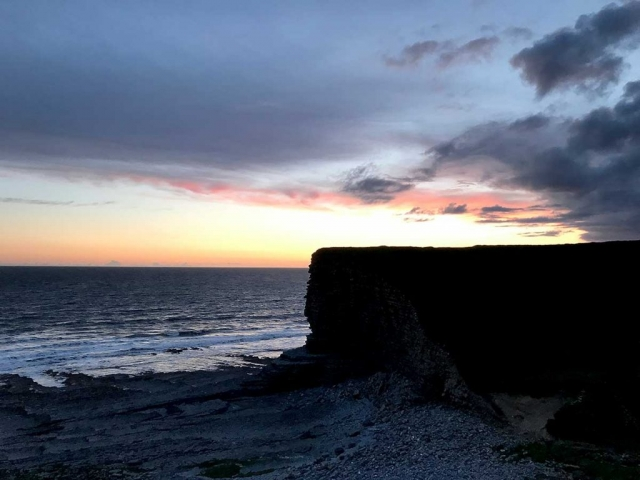 The cliffs at Nash Point after sunset