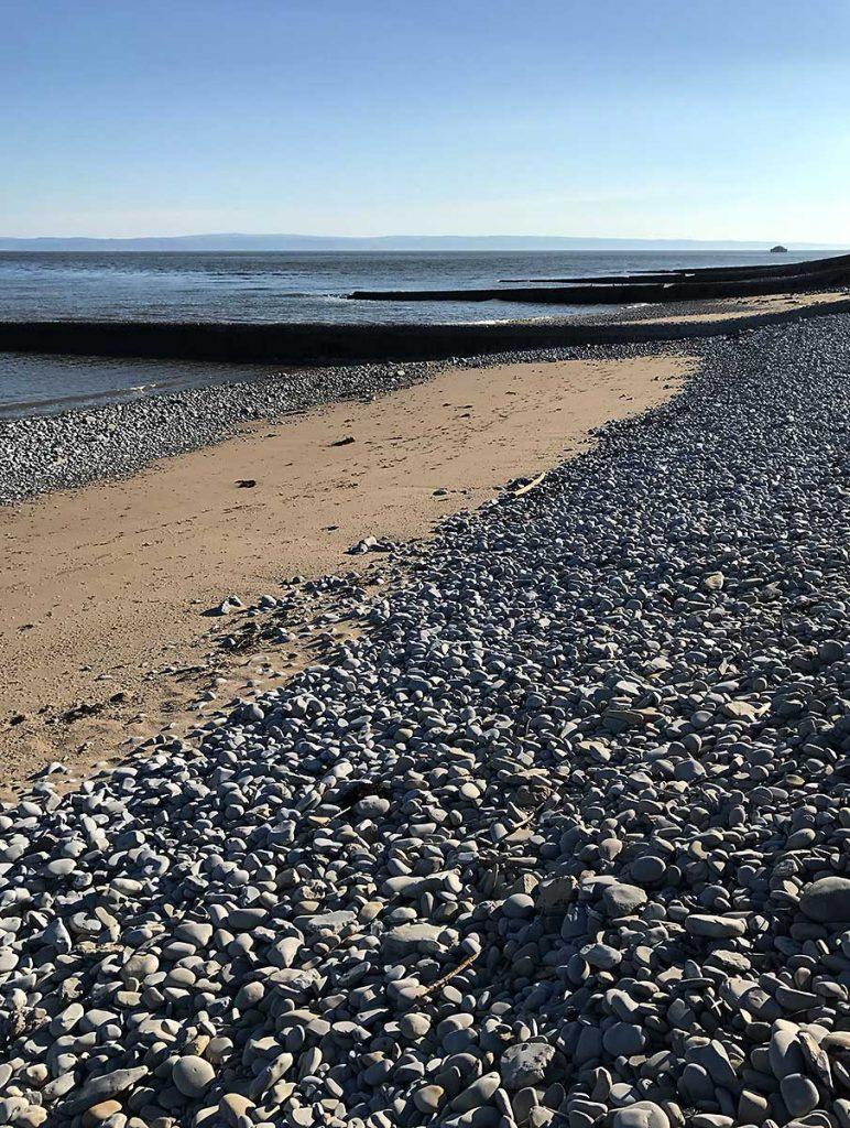 East Aberthaw Beach looking towards North Devon coast