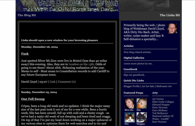 The blog in late 2004.