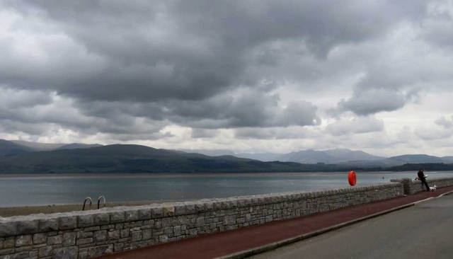 Beaumaris sea front looking across to Snowdonia