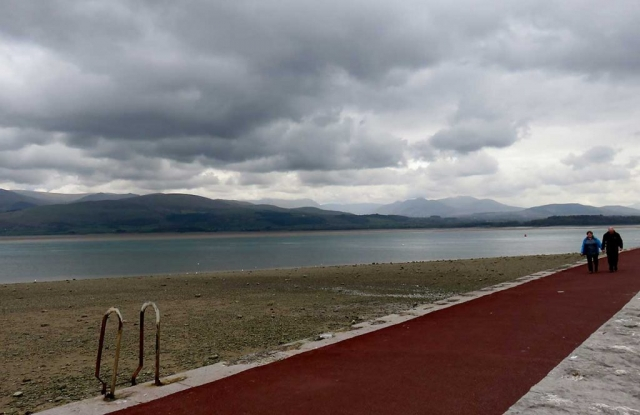 Beaumaris sea front looking across the Menai Straits to Snowdonia