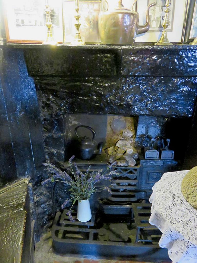 The fireplace and cooker inside the UK's smallest house