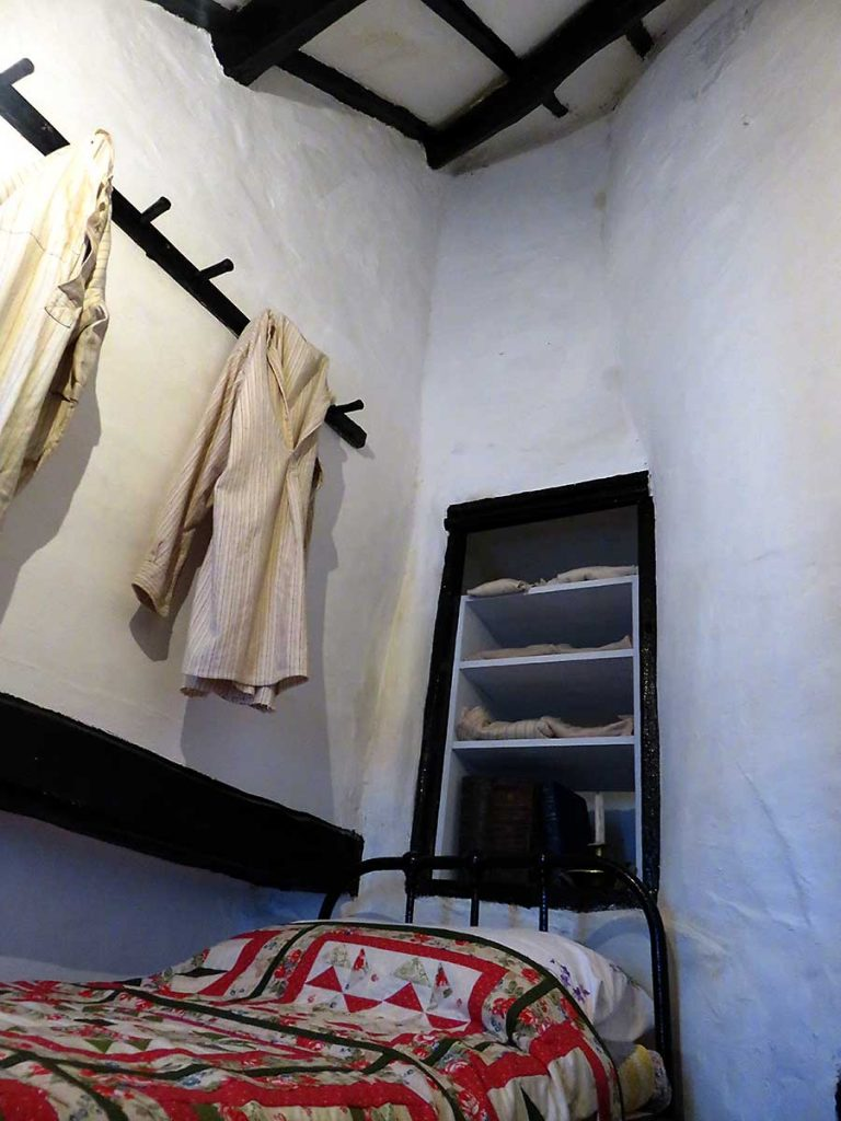 The upstairs bedroom inside the UK's smallest house