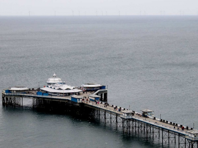 View of the end of Llandudno Pier from the Orme cable car