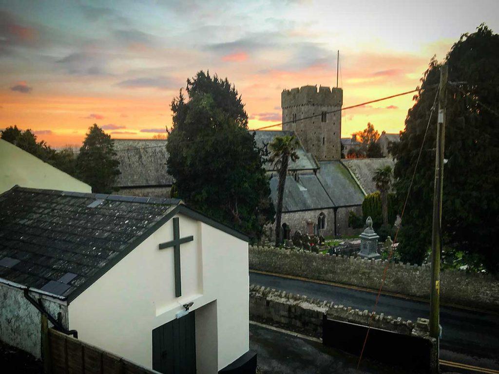 Sunset over St Illtyd's Llantwit Major, November 2017