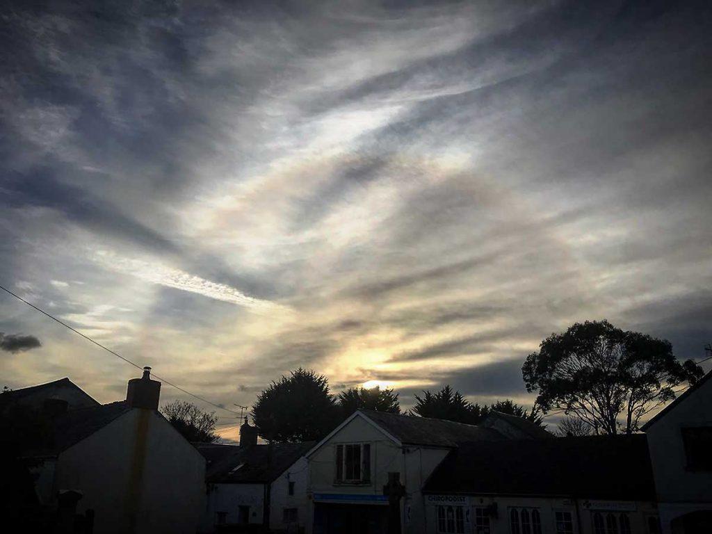 A 22 degree halo over Llantwit Major, November 2017