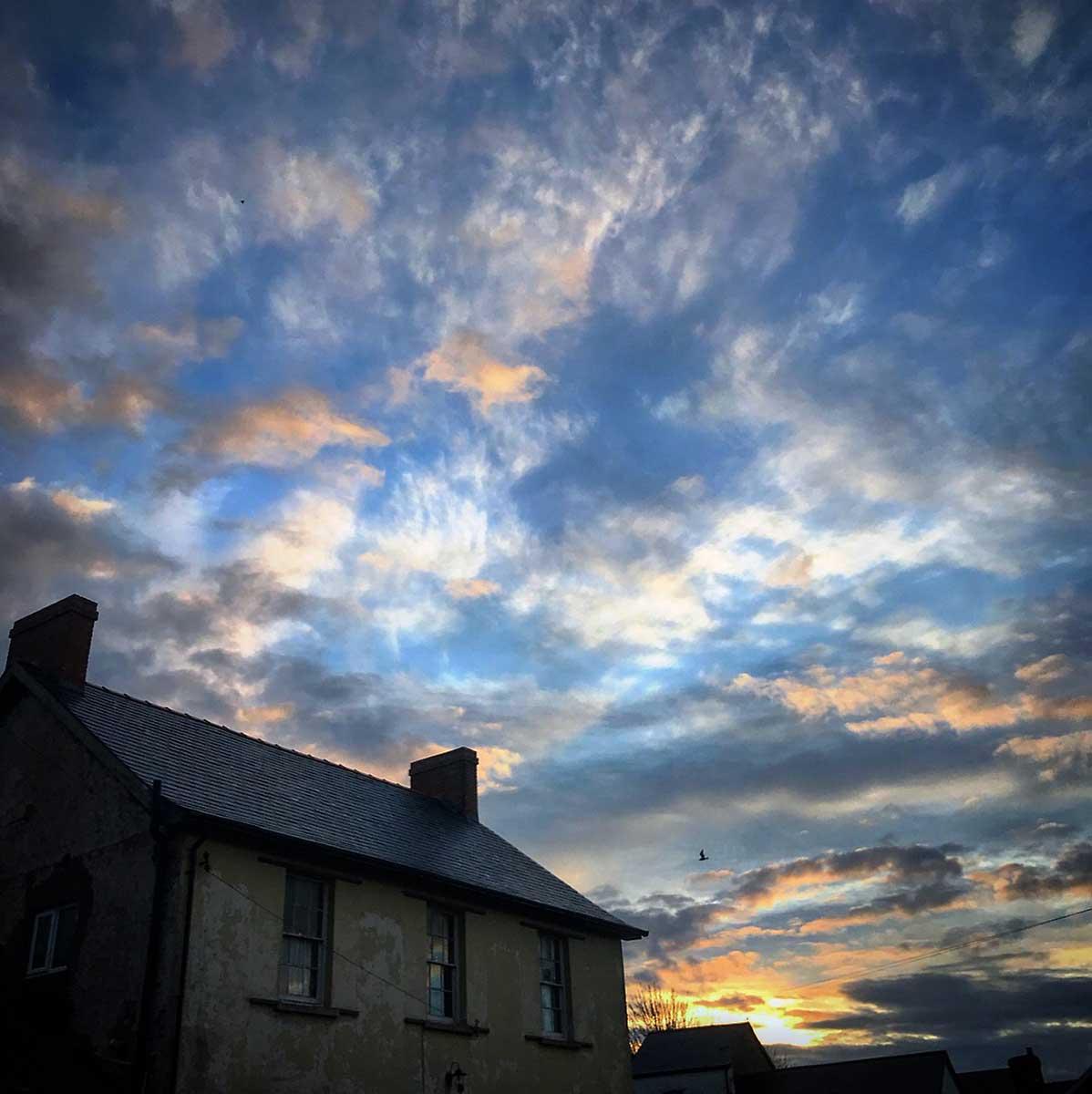 Wintry sunset over Llantwit Major, December 2017