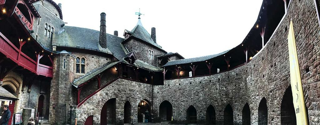 Panoramic view of the inside of Castell Coch