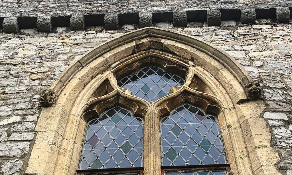 Carved beasts on the windows at St Donats Castle