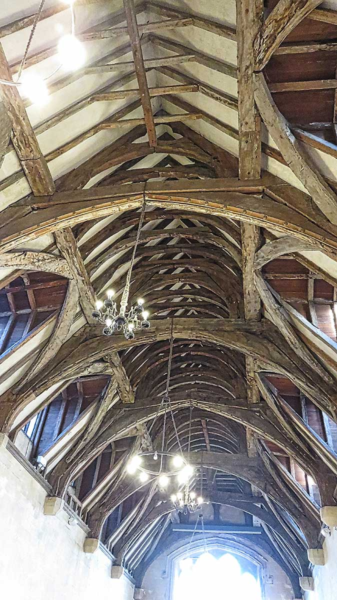 The spine like roof in the Bradenstoke Hall at St Donats