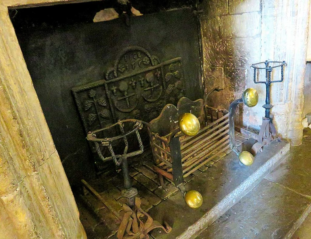 Ornate fire basket inside St Donats Castle