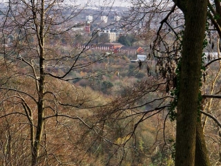 View from Castell Coch of Cardiff and the Severn in the distance