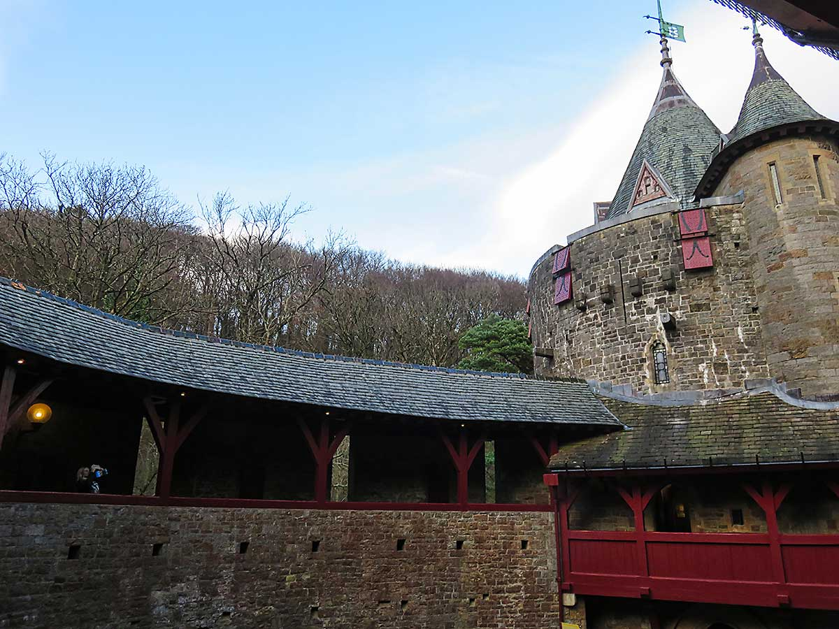 Photographing from the balcony at Castell Coch