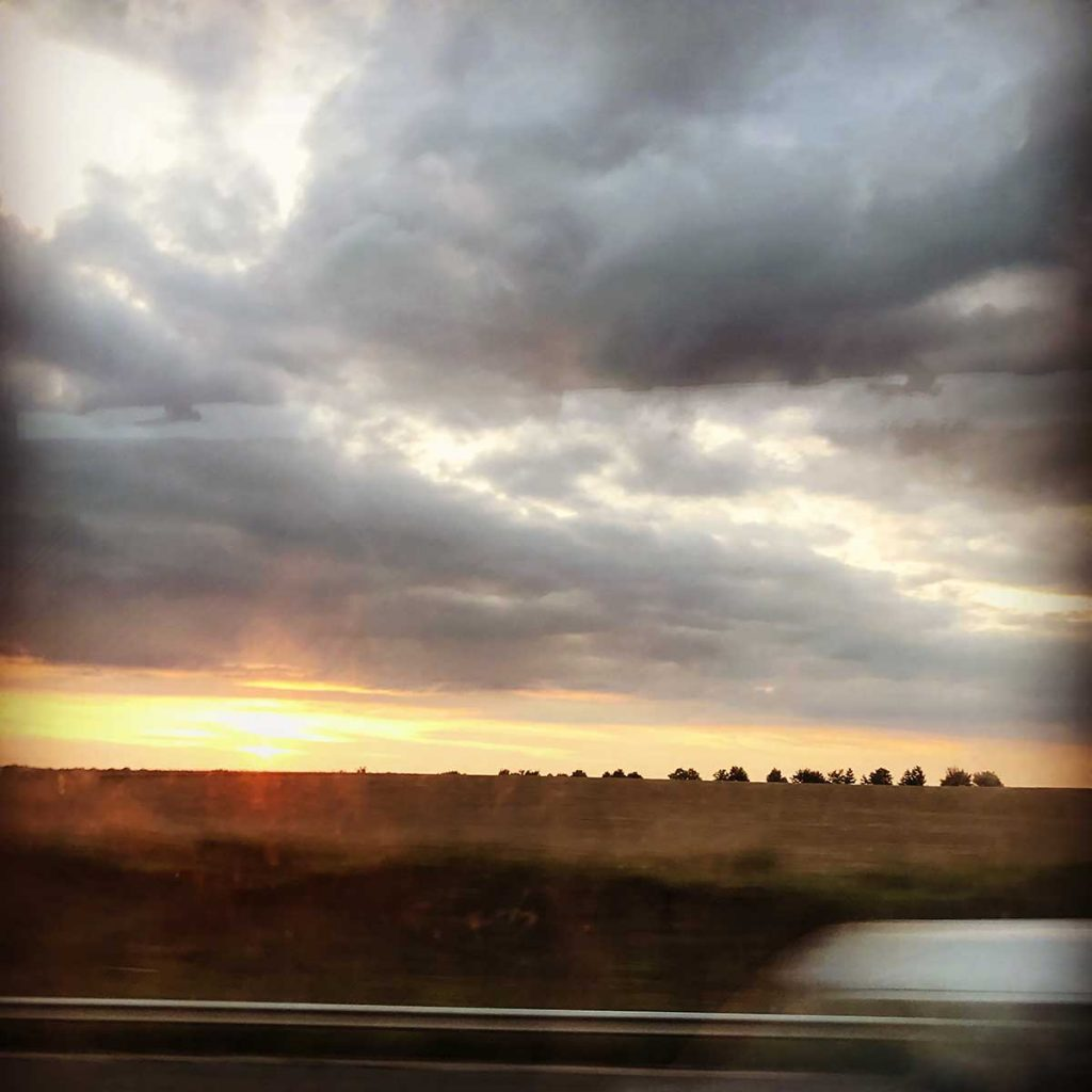 Sunset travelling in France, August 2017
