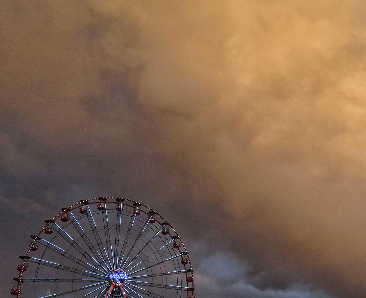 Shower clouds over the Winter Wonderland big wheel