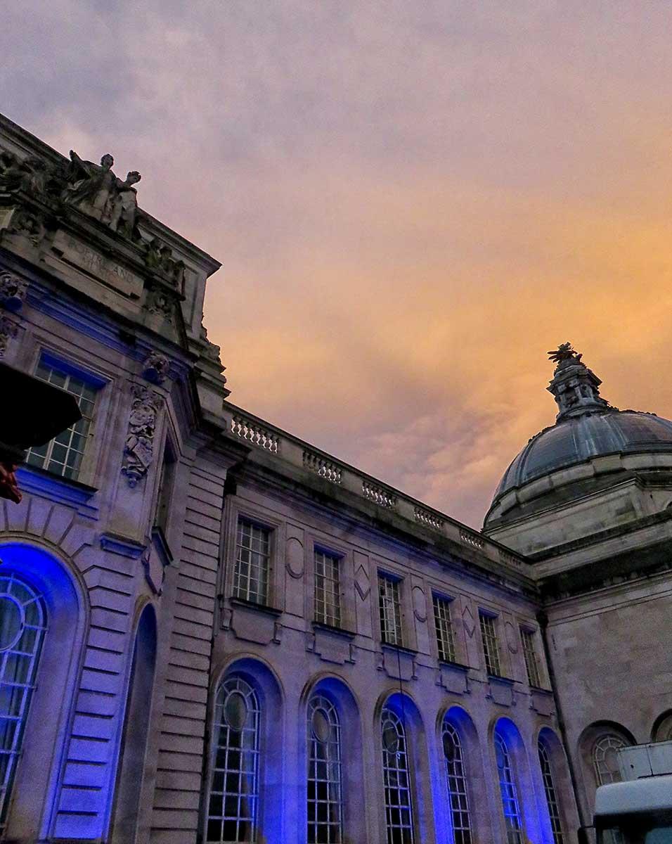 City Hall all lit up