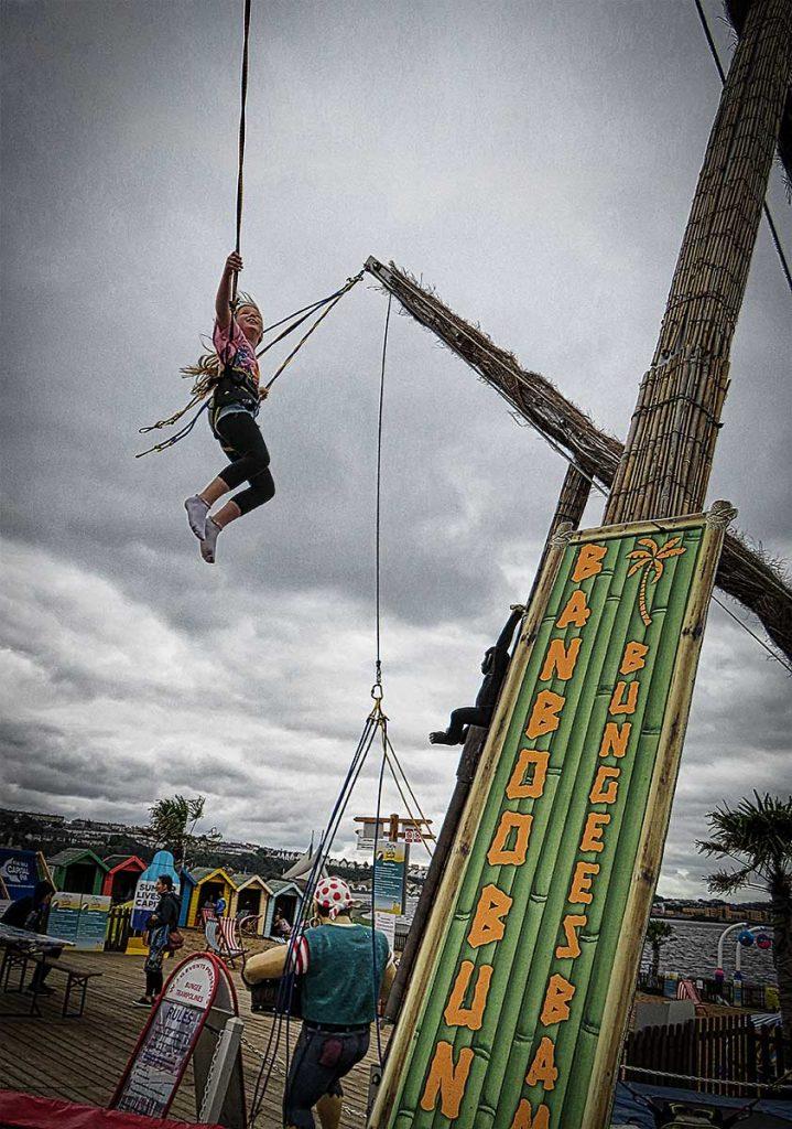 Jumping high at Cardiff Bay Beach