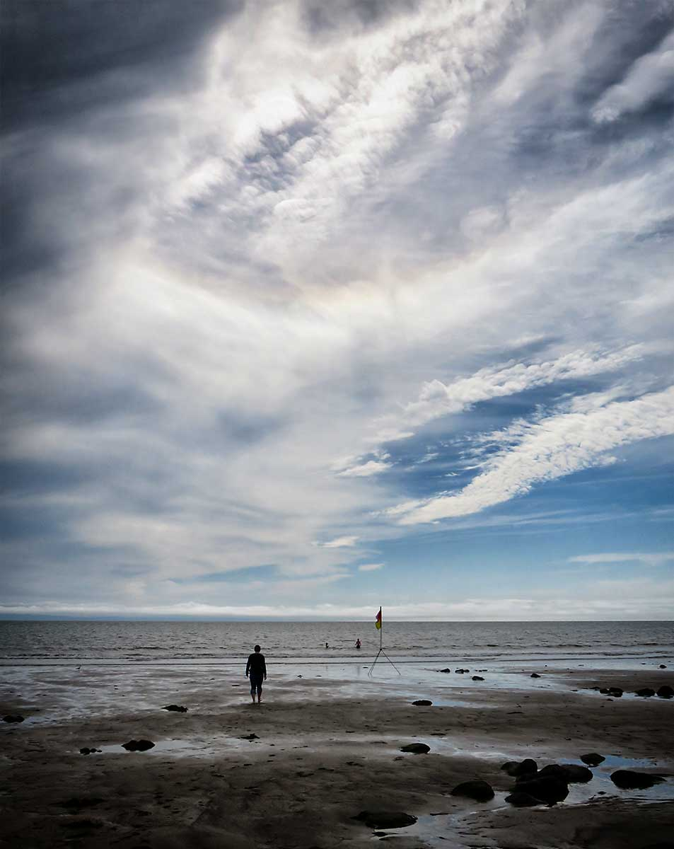 Big clouds over the Severn at Llantwit Major Beach.