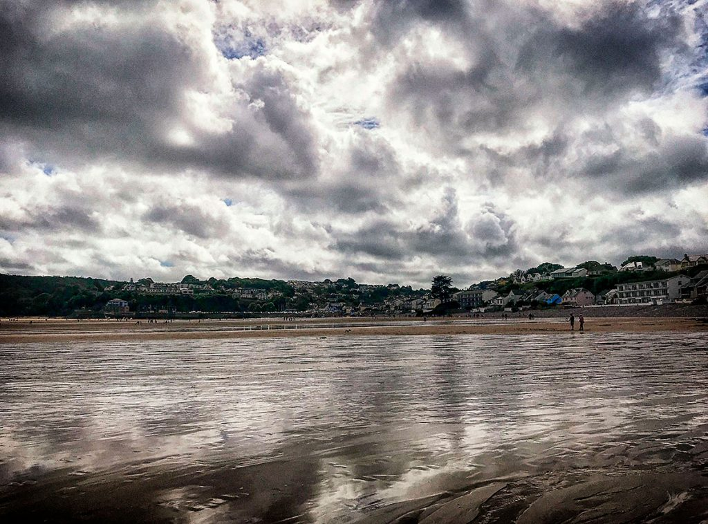 Dark reflections on Saundersfoot Beach - Aug 2020