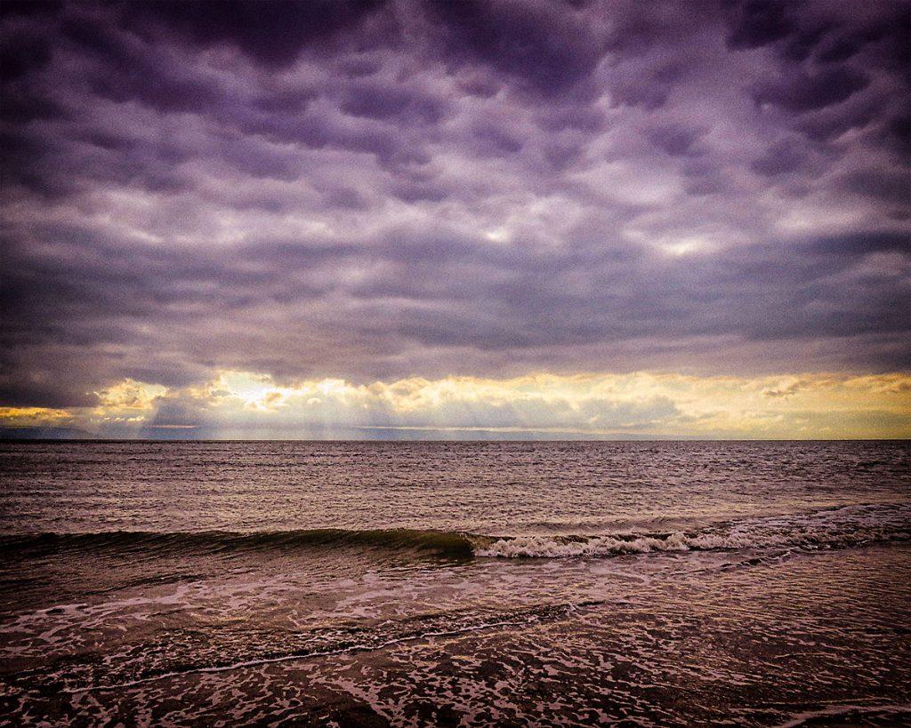 Sun rays over the North Devon coast.